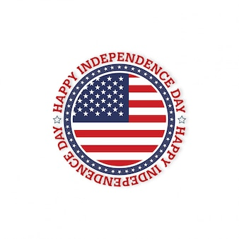 Bandiera americana circle with typography happy independence day