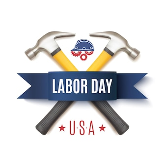 2つのハマー、労働者のヘルメットとギア、分離された労働者の日のバッジ