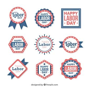 플랫 스타일의 노동절 배지 컬렉션