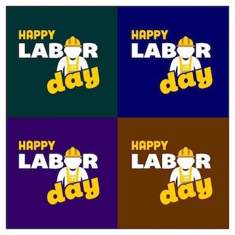 Labor day badges set