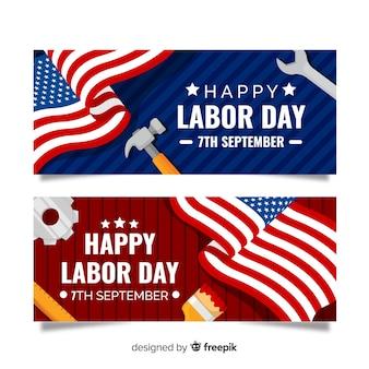 Labor day banner flat design