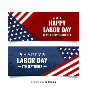 Labor day banner flat design