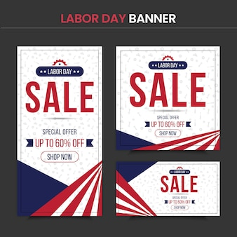 Labor day banner template set