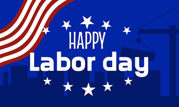 A labor day banner with star and an american flag american labor day banner with a blue background