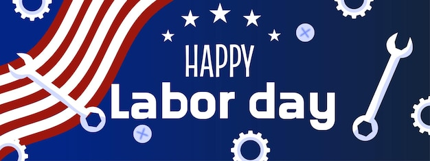 A labor day banner with stars tools and an american flag american labor day banner