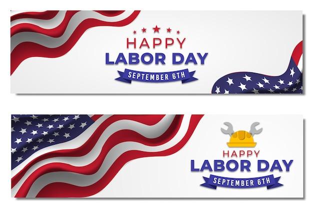 Labor day banners sale set. premium vector