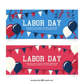 Labor day banners with balloons and garlands