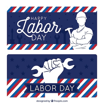 Labor day banners with drawings and stripes