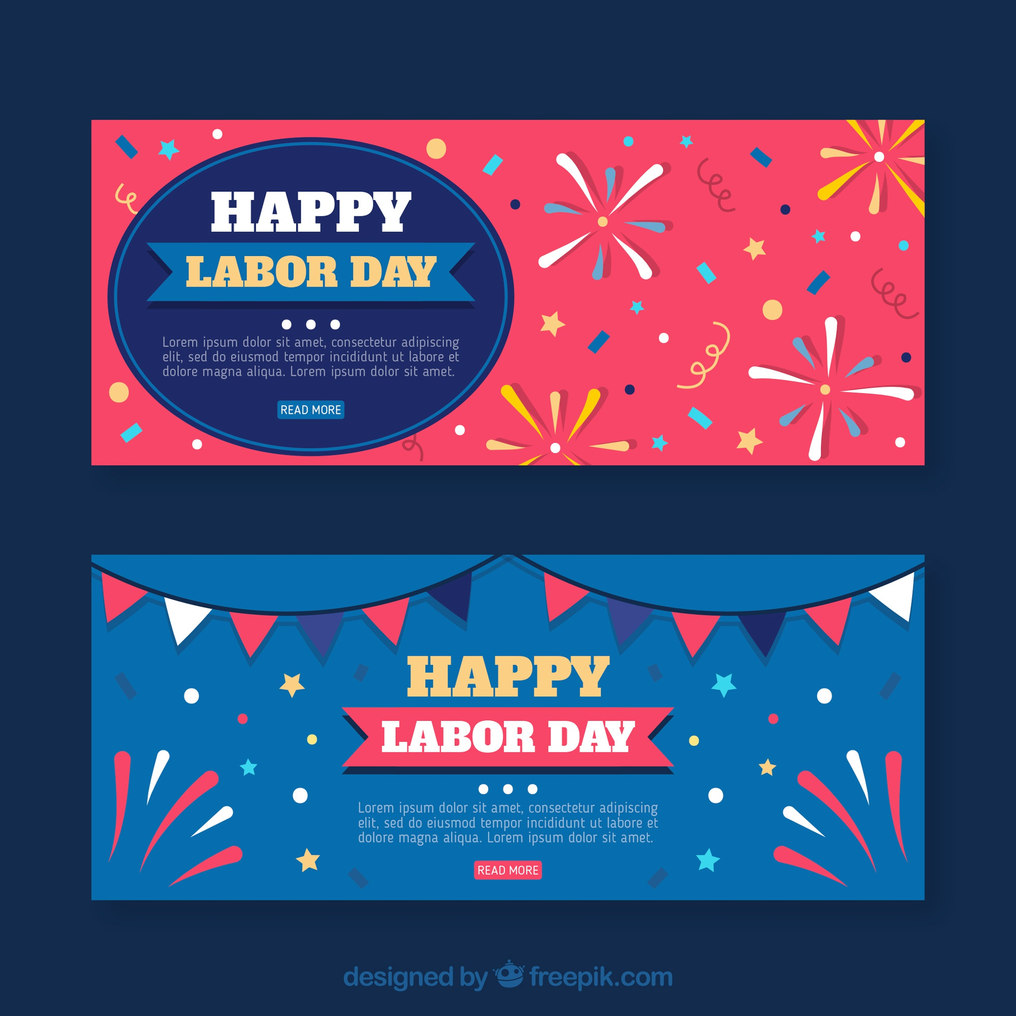 Labor day banners with fireworks
