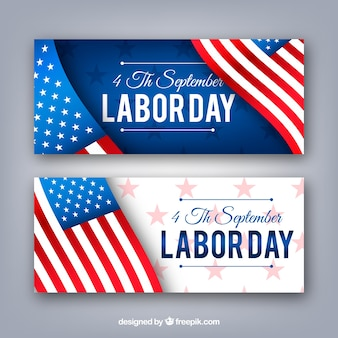 Labor day banners with flag