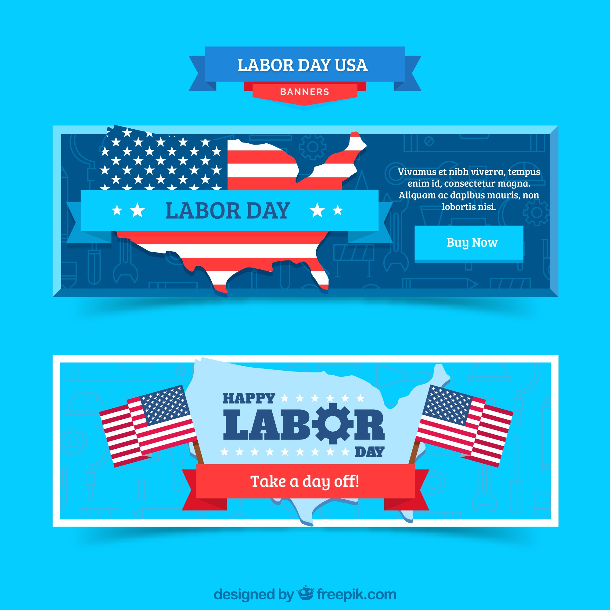 Labor day banners with flat design