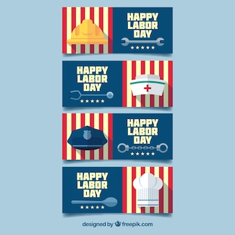 Labor day banners with flat edsign