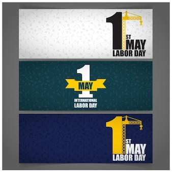 Labor day banners with a one number