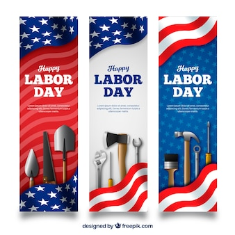 Labor day banners with realistic style