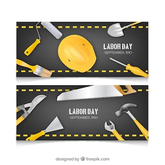 Labor day banners with realistic tools