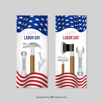 Labor day banners with tools