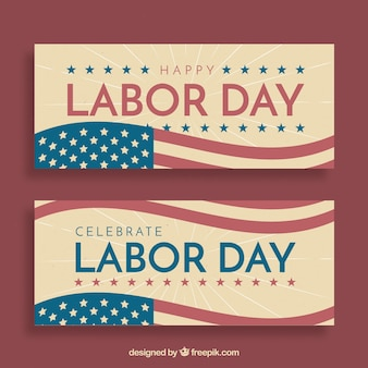 Labor day banners with vintage style