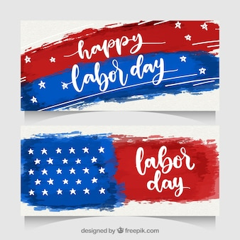 Labor day banners with watercolor flag