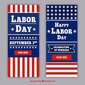 Labor day bannes collection in flat style