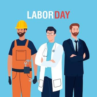 男性グループ別の職業ベクトルイラストデザインの労働者の日カード