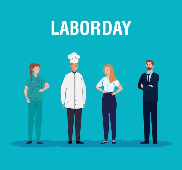 さまざまな職業の人々と労働者の日カードベクトルイラストデザイン