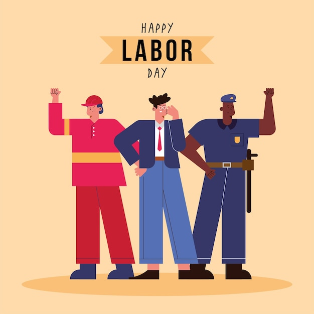Labor day card with professionals workers