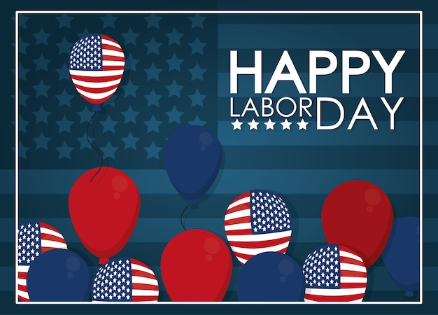 Labor day card with usa balloons