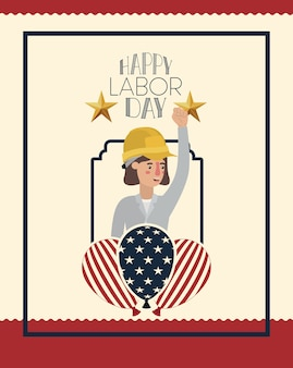 Labor day card with woman builder