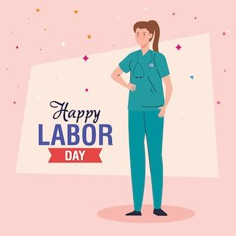 労働者の日カード、女性救急隊員ベクトルイラストデザイン