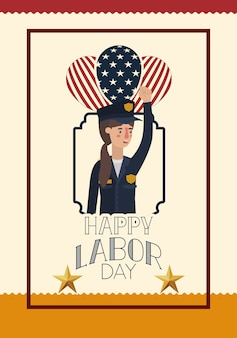 Labor day card with woman police