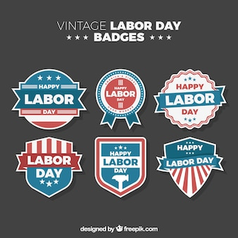 Labor day celebration badge collection