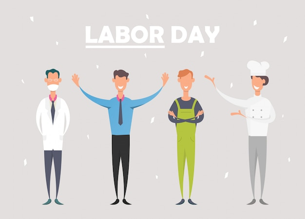 Labor day celebration with people of different occupations.