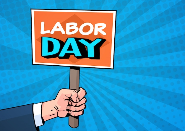Labor day comic style over pop art. 1 may holiday greeting card design