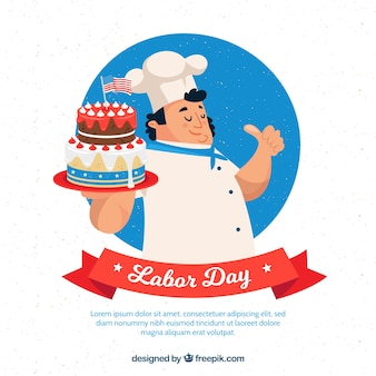 Labor day composition with flat character