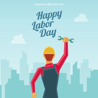 Labor day composition with flat design
