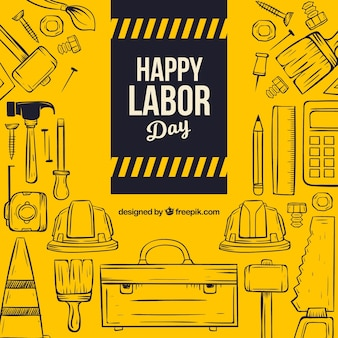 Labor day composition with hand drawn tools