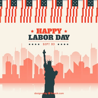 Labor day composition with liberty statue