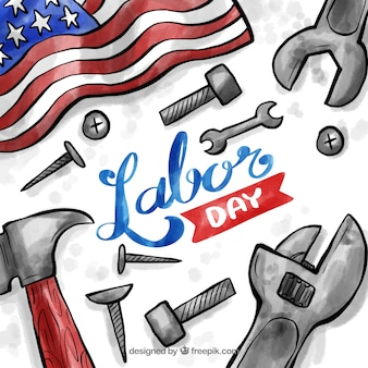Labor day composition with watercolor tools