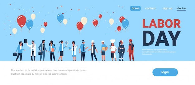 Labor day concept for landing page