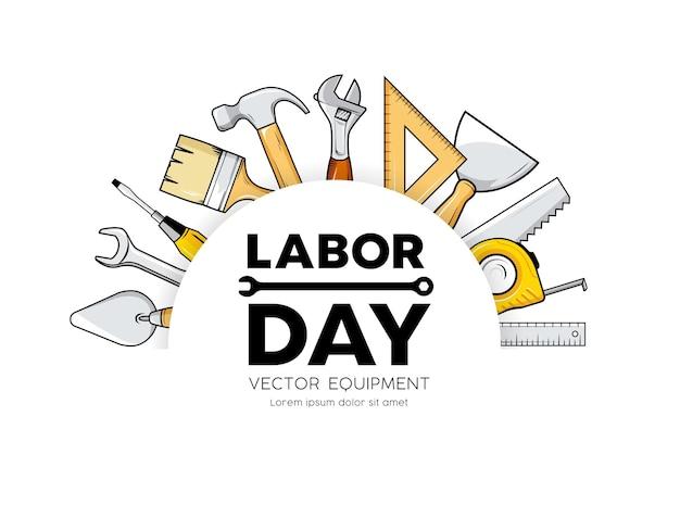 День труда строительное оборудование вектор круг дизайн, изолированные на белом фоне иллюстрации
