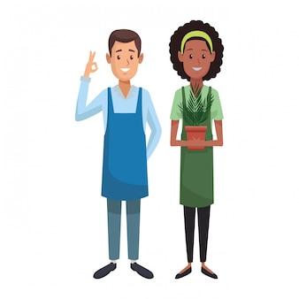 Labor day couple cartoon