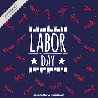 Labor day dark background with drawings of tools