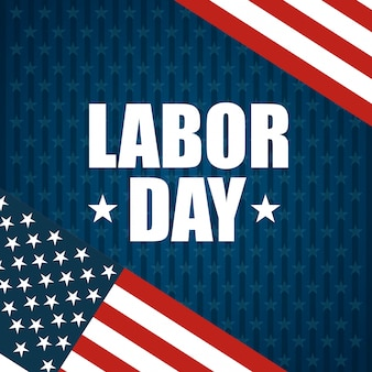 Labor day design and american flags