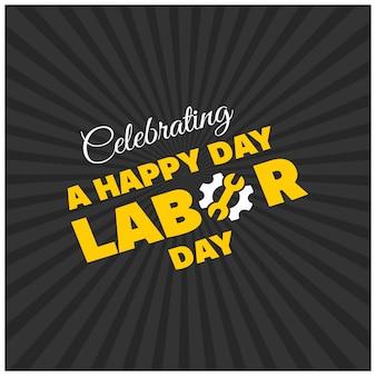 幸せな労働日黒い背景に美しい黄色タイポグラフィー