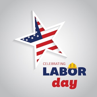 Labor day design with star