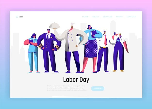 Labor day different profession character group landing page.