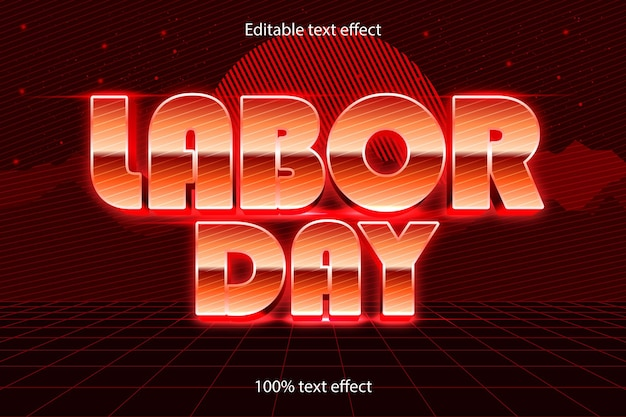 Labor day edible text effect retro style