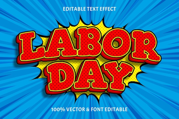 Labor day editable text effect 3 dimensions emboss comic style