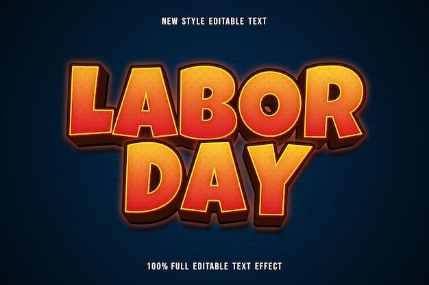 Labor day editable text effect cartoon comic style orange