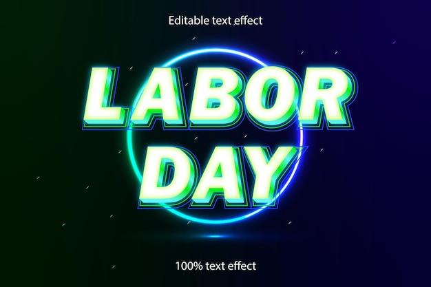 労働者の日の編集可能なテキスト効果ネオンスタイル